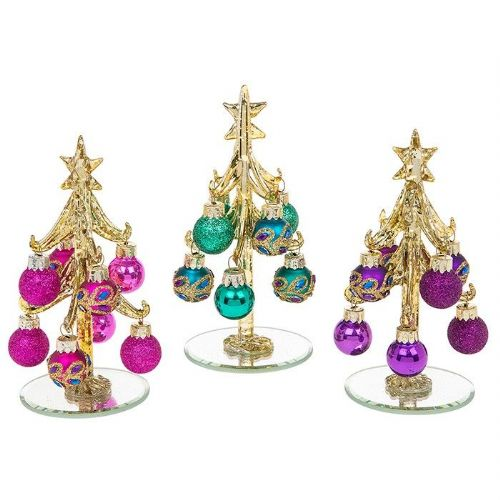 Small Gold Glass Christmas Trees with Peacock Decorated Baubles